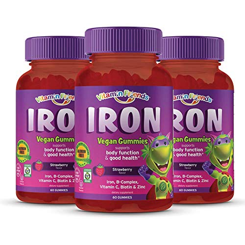 Vitamin Friends Kids Iron Gummies - Vegan, Organic, Kosher, Allergen Free Iron Gummy, Supports Healthy Iron Levels Without Nausea or Constipation - 3 Pack