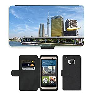 Hot Style Cell Phone Card Slot PU Leather Wallet Case // M00169392 Japan Tokyo Sumida Asahi Skyscraper // HTC One M9