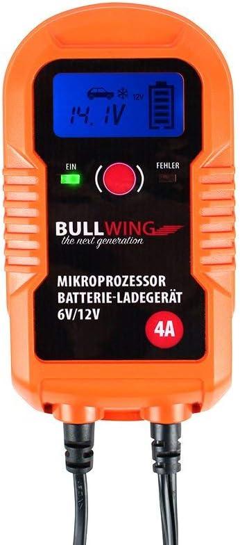 Bullwing Bl4 0 Vollautomatisches Universal Batterieladegerät 6v 12v 4a Display Digital Orange 205 X 115 X 60 Mm Auto