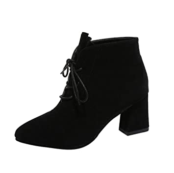 Women Snow Boots Pointed Toe Low Block Pump Heel Lace up Ankle Booties Shoes High Heel (US:5 Black)