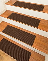 NaturalAreaRugs Halton Polyester Carpet Stair Treads, Handmade, Rubber Backing, Durable, Stain Resistant, Environmental-Friendly, Chocolate, Set Of 13 (9 Inches X 29 Inches)