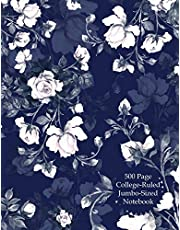 500 Pages College-Ruled Jumbo-Sized Notebook: Giant Notebook/Journal|500 pages(1000 sheets| 8.5 x 11|Cute Vintage Floral Garden Design For Professionals, Students, Artists, Writers and Teachers