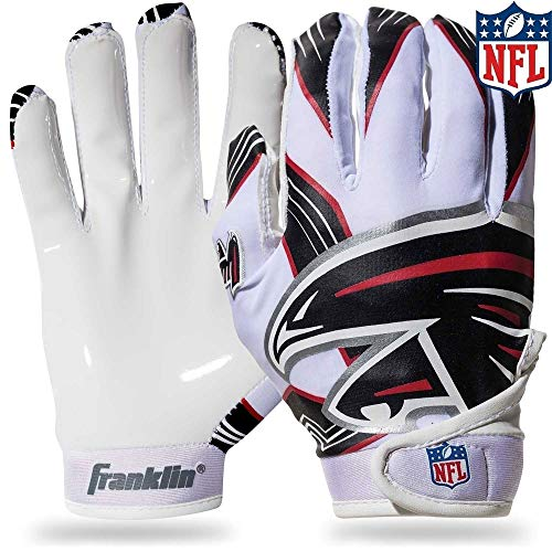Franklin Sports Atlanta Falcons Youth NFL Football Receiver Gloves - Receiver Gloves For Kids - NFL Team Logos and Silicone Palm - Youth M/L Pair