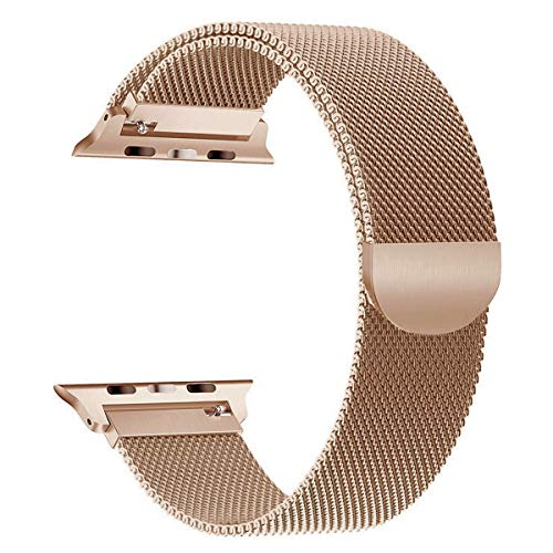 OULEDI Compatible for Apple Watch Band 38mm 40mm Stainless Steel Milanese Loop for iWatch Band Series 1 Series 2 Series 3 Series 4 with Magnetic Closure Gold