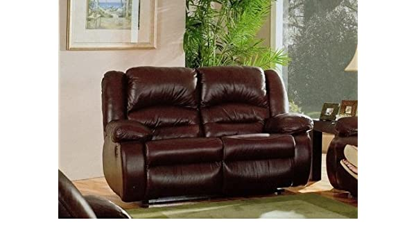 Amazon.com: Chicago Burgundy Leather Motion Reclining Sofa Loveseat ...