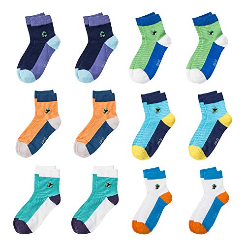 (CHINE HIGH Varity Of Baby Socks 12 Pairs Colorful Cartoon Thin and Comfortable Cotton Kids Socks, 1 Dog A, 1-2)