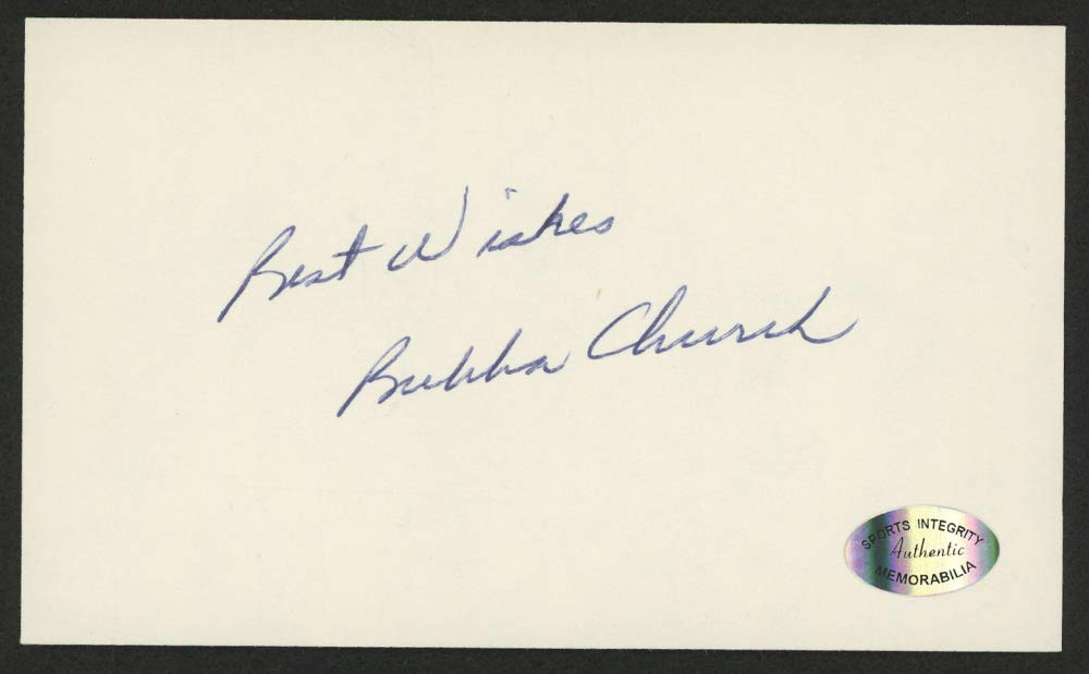 "BUBBA CHURCH SIGNED 3""x5"" CARD PHILADELPHIA PHILLIES CINCINNATI REDS CHICAGO CUB"