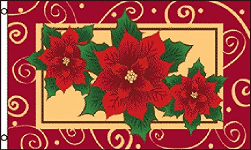 3x5 Poinsettias Flag Christmas Banner Holiday Decoration New