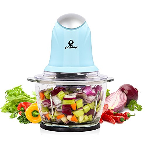 POSAME Mini Food Processor Meat Grinders Electric,Small Kitchen Food Chopper Vegetable Fruit Cutter Onion Slicer Dicer, Blender and Mincer, with 4-Cup Glass Bowl-Blue