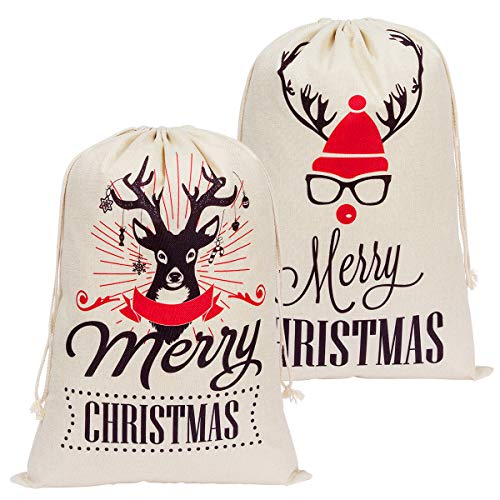 ANPHSIN Pack of 2 Christmas Santa Sacks - Large Size 24.8 by 17.7 inch Personalized Burlap Canvas Xmas Gifts Bags with Drawstring for Kids Christmas Gift