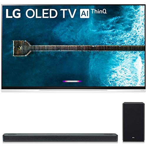 LG OLED65E9PUA 65″ E9 4K HDR OLED Glass Smart TV w/AI ThinQ (2019 Model) and SL8YG 3.1.2 Channel High Res Audio Sound Bar w/Meridian Technology, Dolby Atmos Bundle