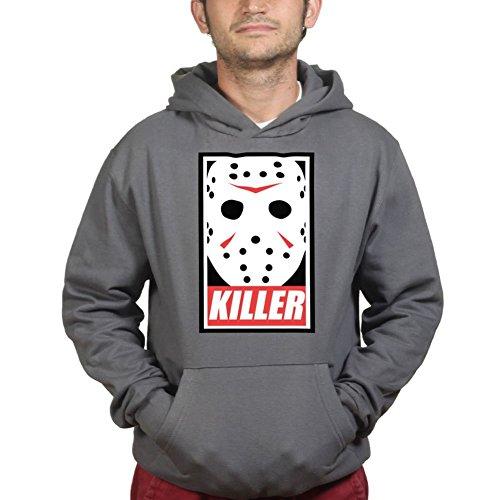 Mens Jason Voorhees Killer Halloween Hoodie L Charcoal Grey (Jason Voorhees Clothes)