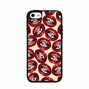 Red Lips With Diamonds Plastic Phone Case Back Cover iPhone 5c