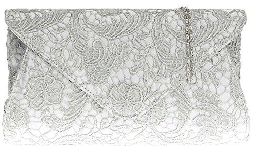 Mujeres noche eventos moda hombro cadena de gran tamaño de Satén embrague bolso de las señoras - Fuchsia Silver