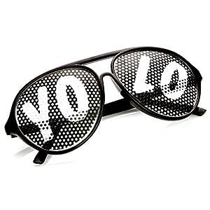 zeroUV - YOLO Color Plastic Teardrop Aviator Mesh Lens Poker Face YOLO Sunglasses