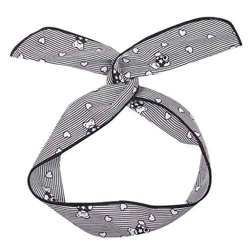 VOWUA Women's Hairband Simple Never Slipping Stretchy Wire Straight Strip Hair Band Straight Bear Print Headband 1PC