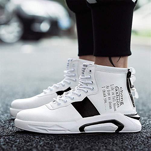Scarpe Uomo Comfort Outdoor Casual Moda Autunno Da Pu High Zj Passeggio Sneakers Bianca top Corsa Scarpe Calze Ginnastica Personalità nqax7T