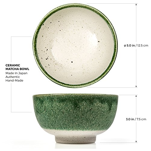 Tealyra - Matcha Bowl - Authentic Ceramic Made in Japan - Chawan from Japanese Master-Craft - Matcha Tea Cup Ceremony Use - Green by Tealyra (Image #2)