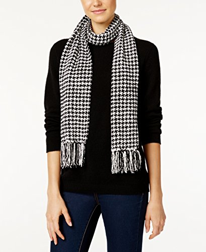 White Chenille Scarf - Charter Club Women's Houndstooth Chenille Woven Scarf, Black/White, One Size