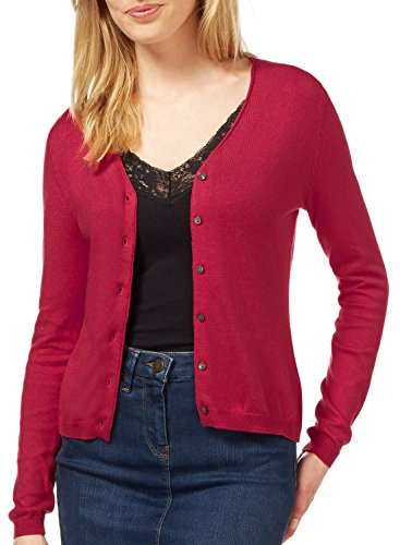 V-neck Duster (Womens V-Neck Button Down Long Sleeve Knit Cardigan Sweater AZ 1100 Red S)