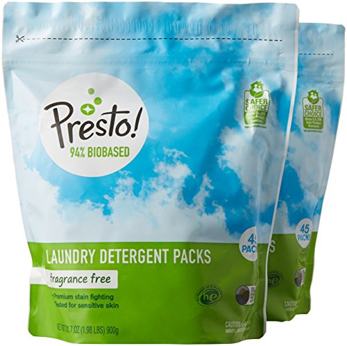 Amazon Brand - Presto! 94% Biobased Laundry Detergent Packs, Hypoallergenic and Fragrance Free, 90 Loads (2-pack, 45 each) from Presto!