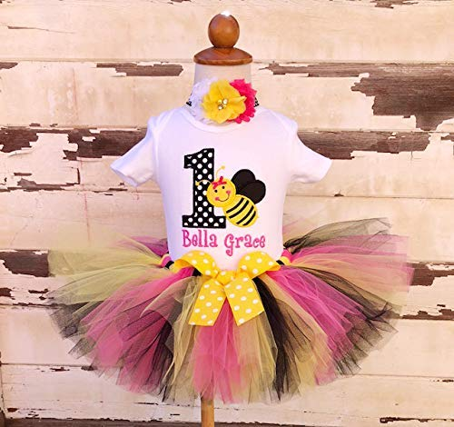 98064569 Image Unavailable. Image not available for. Color: Bumblebee 1st Birthday  Tutu Outfit- Personalized Baby Girl