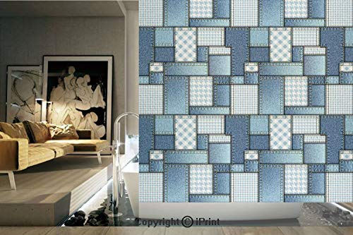 (Decorative Privacy Window Film/Denim Motif Background with Several Cross Sewing Figures Simplistic Design/No-Glue Self Static Cling for Home Bedroom Bathroom Kitchen Office Decor Blue and Baby Blue)