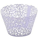 Top Plaza 100pcs Flower Vine Filigree Lace Cutout Cupcake Wrappers Wraps Liners Wedding Party Cake Decoartion (Purple)