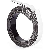 ewtshop® Set van 5 magneetbanden in wit, lengte 1 m, breedte 20 mm, magneetstrips, beschrijfbaar
