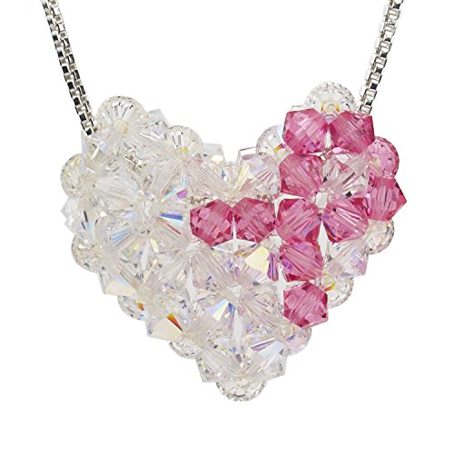 Sterling Silver and Swarovski Crystal Breast Cancer Awareness Woven Puffy Heart Necklace Swarovski Crystal Puffy Heart Pendant