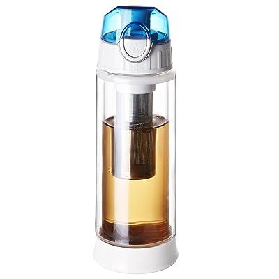 Nouvelle arrivée Bouteille en verre d'eau avec le thé Infuser, tasse de thé, tasse de thé, boissons Bouilloire en verre d'eaucone (bleu)