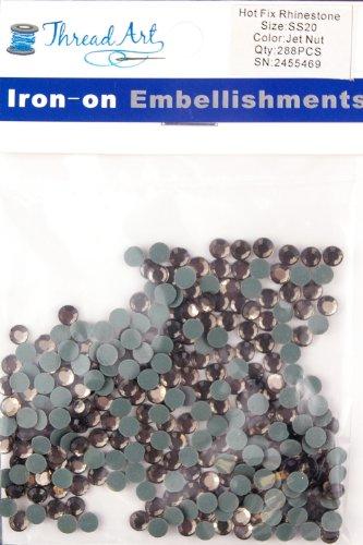 - Threadart SS20 (5mm) Jet Nut Hot Fix Rhinestones 2 Gross (288/pkg) Hotfix - 32 colors 4 Sizes