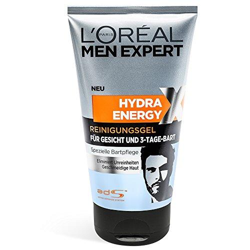 L'Oréal Men Expert Hydra Energy Reinigungsgel für Gesicht und Bart (Gesichtspflege für Männer mit 3-Tage-Bart), 1er Pack (1 x 150 ml)