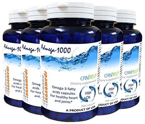 Omega 3 Fish Oil Capsules (35 Packs of 200 capsules) With 50% EPA DHA 1000mg (35) by Advance Nanomeds (Canhelp)