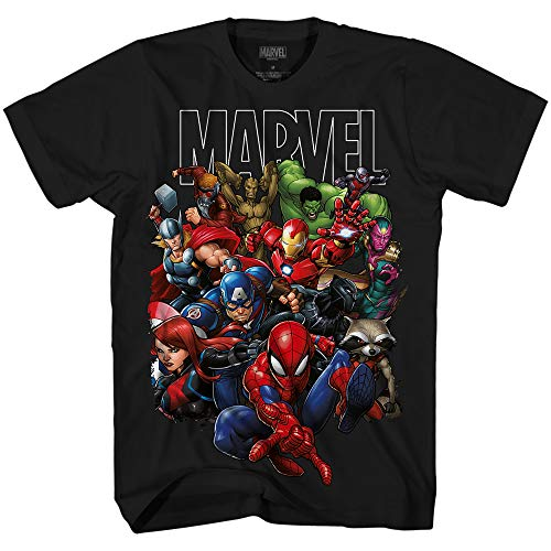 Marvel Avengers Guardians of The Galaxy Team Up All Time Men's Adult Graphic Tee T-Shirt