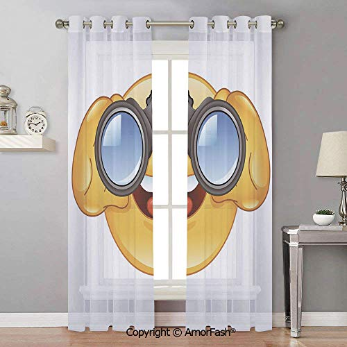 - Emoji Translucent Solid Sheer Curtains Drape White,Chiffon Curtain for Kitchen,Natural Feeling,42x90 Inch Smiley Face with a Telescope Binoculars Glasses Watching Outside Cartoon Print