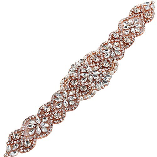 Bridal Wedding Dress Sash Belt Applique with Crystals Rhinestones Pearls Beaded Dacorations Handcrafted Sparkle Elegant Thin Sewn or Hot Fix for Women Gown Evening Prom Clothes (Rose Gold-2) from XINFANGXIU
