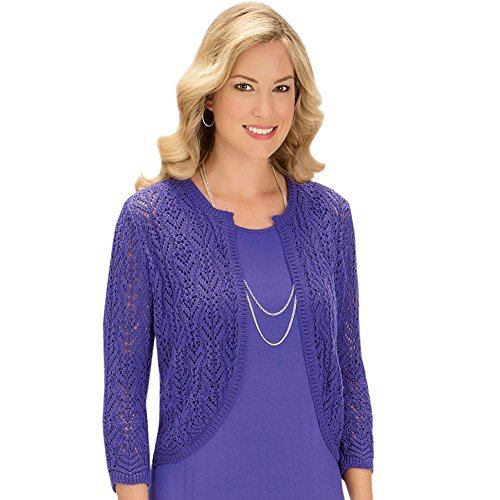 (Women's Pointelle Open Weave Knit Sweater Open-Front Shrug with 3/4 Sleeves - Perfect Outfit Layer, Purple, Medium)