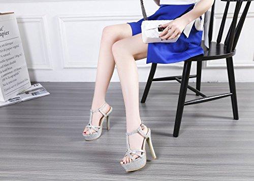 T De Mujeres Zapatos Colores Bellas 4 High Zapatos Con De Silver Parte Pescado Verano Mostrar Sandals Heeled JUWOJIA Boca Hebilla wx1Cnqxfz