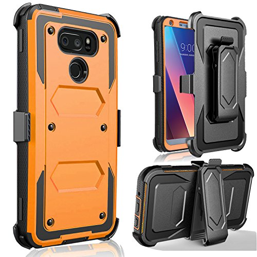 LG V30 Case, LG V30 Plus Case - Jwest Full-body Rugged Belt Clip Holster Kickstand Case WITHOUT Built-in Screen Protector For LG V30+ Orange (Christmas Cricket Deals Wireless)