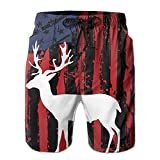 Big America Deer Hunting Flag Summer Quick Dry Casual Shorts Boardshorts With Pockets