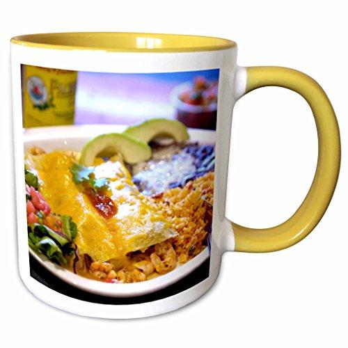 3dRose Danita Delimont - Cuisines - Shrimp Enchilada, Mexican cuisine, Destin, Florida - US10 FVI0005 - Franklin Viola - 11oz Two-Tone Yellow Mug - Destin Outlet Florida