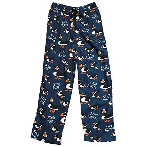 Lazy One Cotton Stud Puffin Loungewear Pajama Pants (Blue, Large)