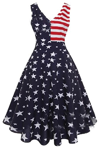 Fashion US Long Red Flag Dresses Neck Jaycargogo Vintage Women V 7qISwp4