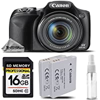 Canon PowerShot SX530 HS Digital Camera Black 50x Optical Zoom + 16GB Class 10 Memory Card + Battery Pack NB 6LH + Cleaning Kit. All Original Accessories Included - International Version