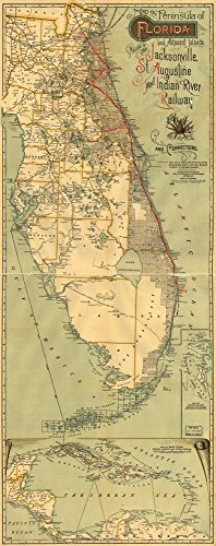 1893 map of the peninsula of Florida and adjacent islands : East Coast Line, the St. Augustine routes and connections|Size 10x24 - Ready to Frame| Florida|Jacksonville|St Augustine|and Indian River - St Augustine Map Shopping
