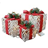 LIKESIDE Christmas Luminous Gift Box Home Outdoor Decoration Set of 3 Glowing Package
