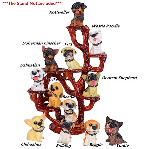 (SummerBoom Pack of 12 Poly-Resin Dogs Figurines-Rottweller/Chihuahua /Dalmatlan/Bulldog /Doberman Pinscher/German Shepherd/Cocker Spaniel/Pug/Yorkie/Westie Poodle/Beagle)