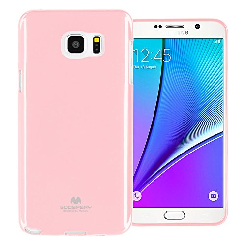 GOOSPERY Marlang Marlang Galaxy Note 5 Case - Baby Pink, Free Screen Protector [Slim Fit] TPU Case [Flexible] Pearl Jelly [Protection] Bumper Cover for Samsung Galaxy Note5, NT5-JEL/SP-PNK