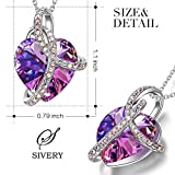 SIVERY Love Heart Women Jewelry Necklace with Swarovski Crystals, Gifts for Mom